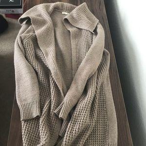 Waffle Knit Long Cardigan